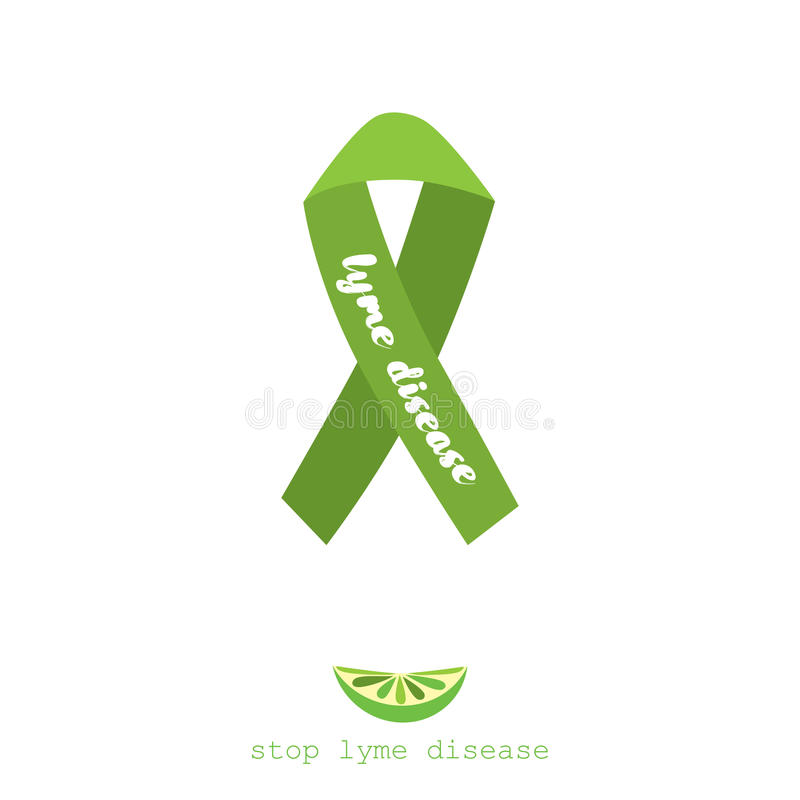 Остановите заболевание lyme Плоский дизайн плаката вектора с зеленой лентой бесплатная иллюстрация