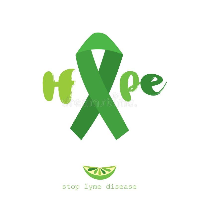 Остановите заболевание lyme Плоский дизайн плаката вектора с зеленой лентой иллюстрация штока