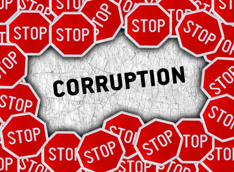 Остановите знак и сформулируйте коррупцию иллюстрация штока