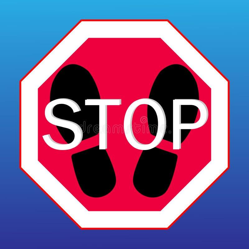 Остановите знак на a с следами ноги от ботинок иллюстрация штока