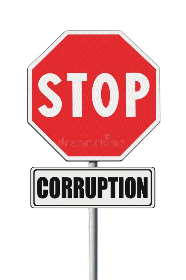 Остановите концепцию коррупции Остановите коррупцию написанную на указателе стоковые фотографии rf