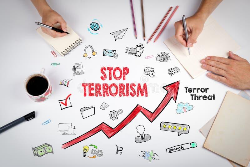 Остановите концепцию терроризма Встреча на белой таблице офиса стоковое фото