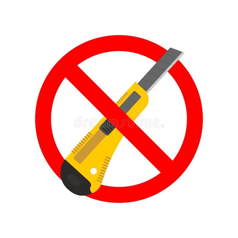 Остановите нож канцелярских принадлежностей Резец офиса запрета бумажный Красный запрет иллюстрация штока