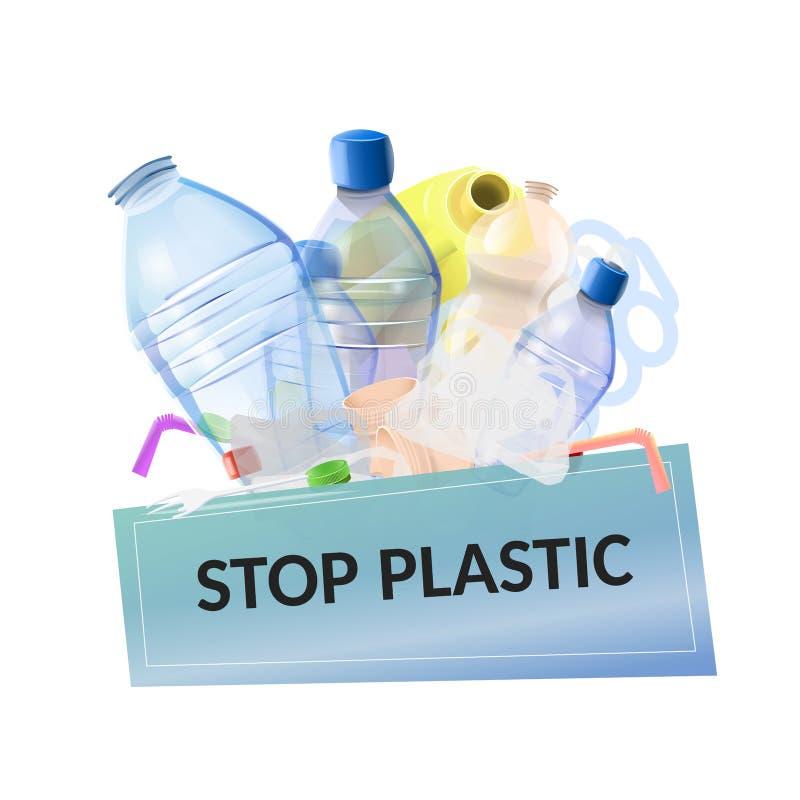 Остановите пластичное загрязнение иллюстрация вектора