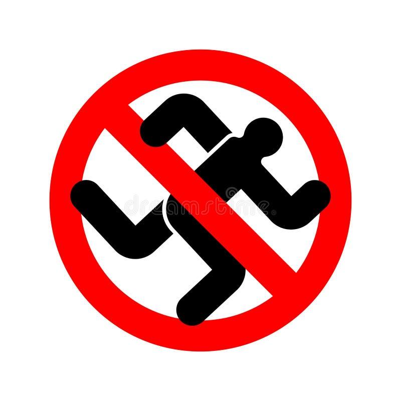 Остановите побежать человек Истребитель знака красной дороги запрещая Бегун запрета иллюстрация штока
