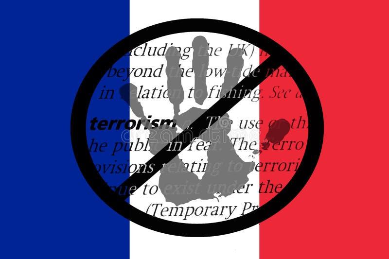 Остановите терроризм в Франции иллюстрация вектора