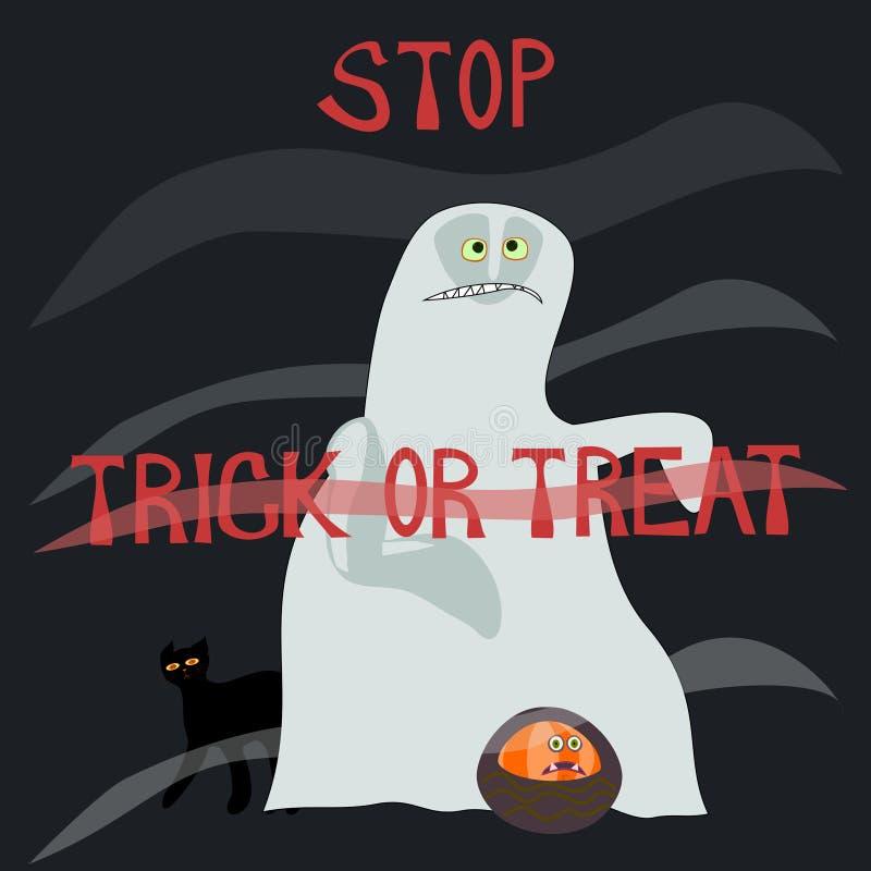 Остановите фокус или обслуживание - страшить призрак иллюстрация вектора