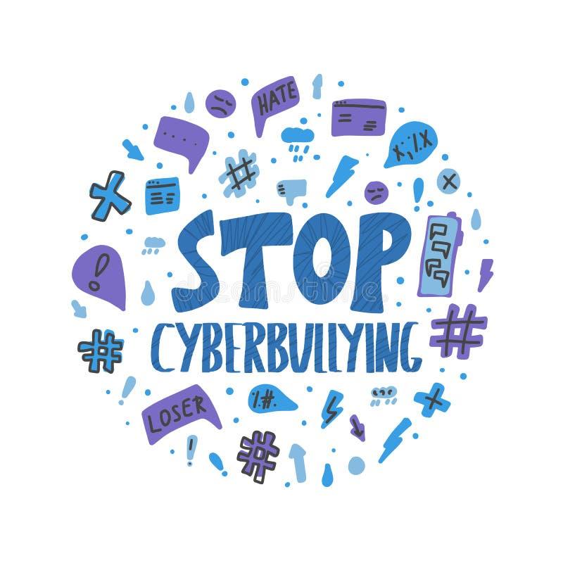 Остановите cyberbullying цитата Знак дизайна текста вектора иллюстрация вектора