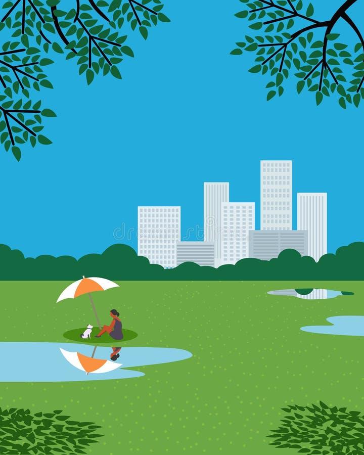 Остатки в плакате вектора цвета сада города плоском иллюстрация вектора