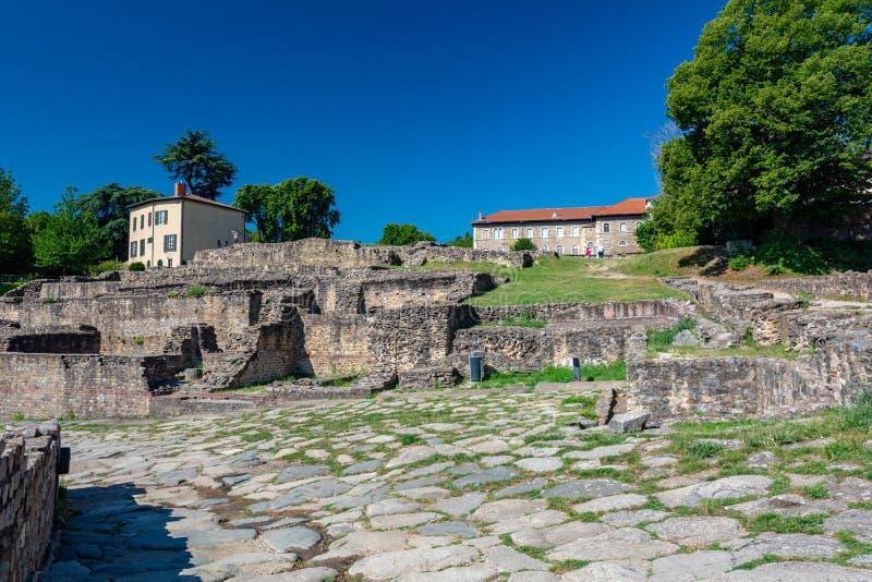 Остатки римского театра в Лионе стоковое изображение rf