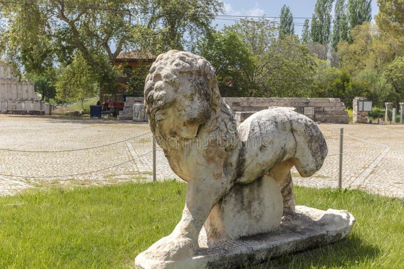 Остатки старого sculture льва на Aphrodisias в Turekey стоковое изображение rf