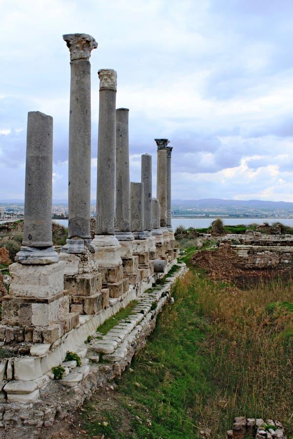 Остатки старых римских столбцов в покрышке стоковое изображение