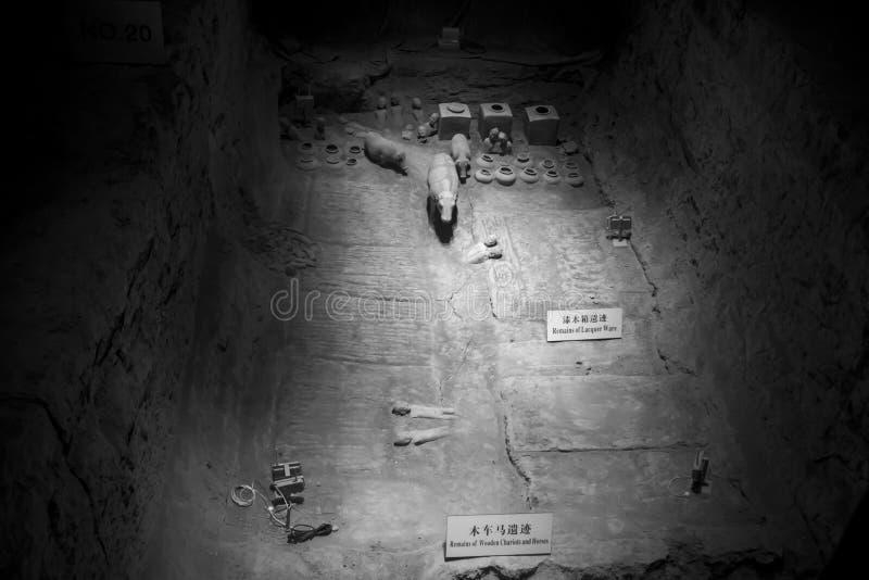 Остатки статуй глины, музея Hanyangling, мавзолей Hanyang, стоковое изображение