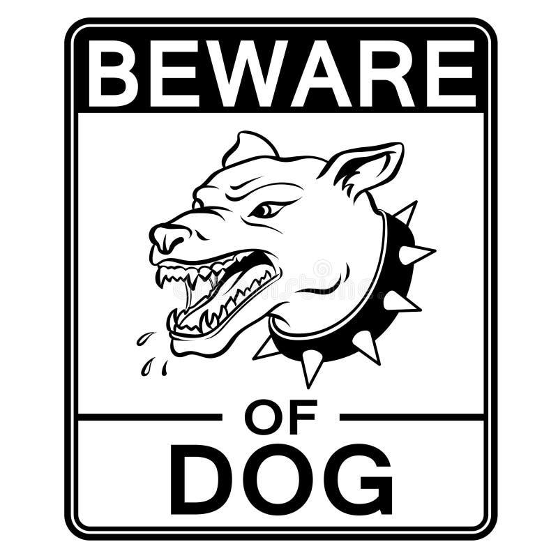 Остерегитесь сердитого вектора книжка-раскраски собаки бесплатная иллюстрация