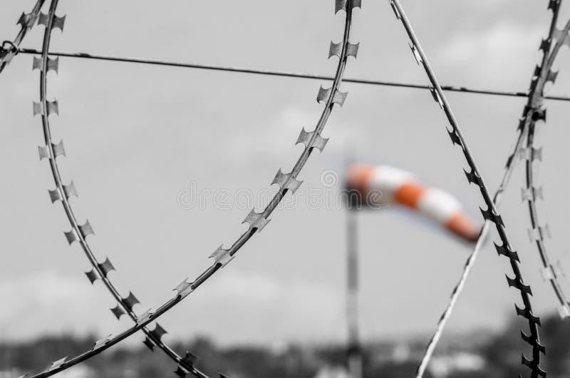 Острая предпосылка windsocks провода стоковые фотографии rf