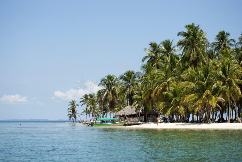Острова рая в Guna Yala, Kuna Yala, Сан Blas, Панаме Заход солнца Восход солнца стоковые изображения