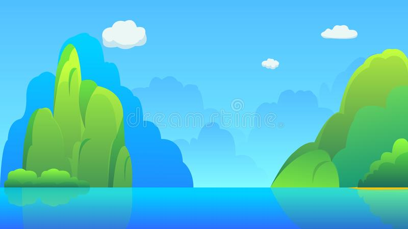 Острова с холмами и иллюстрацией вектора предпосылки неба Красивая сцена природы с lake= иллюстрация штока