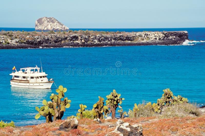 острова эквадора galapagos шлюпки туристские стоковое изображение rf