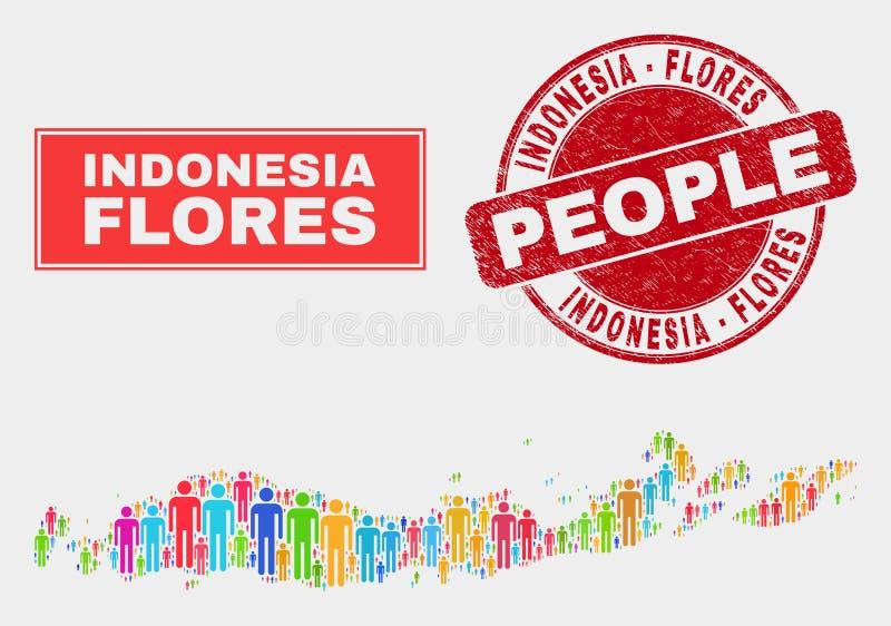 Острова Flores людей населения карты Индонезии и грязного водяного знака иллюстрация вектора