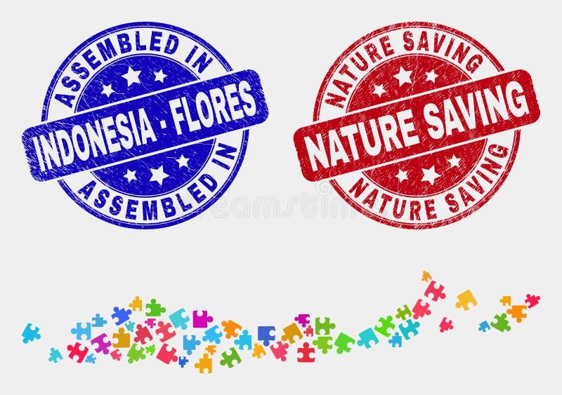Острова Flores модуля карты Индонезии и собранный дистресс и печати природы сохраняя иллюстрация вектора