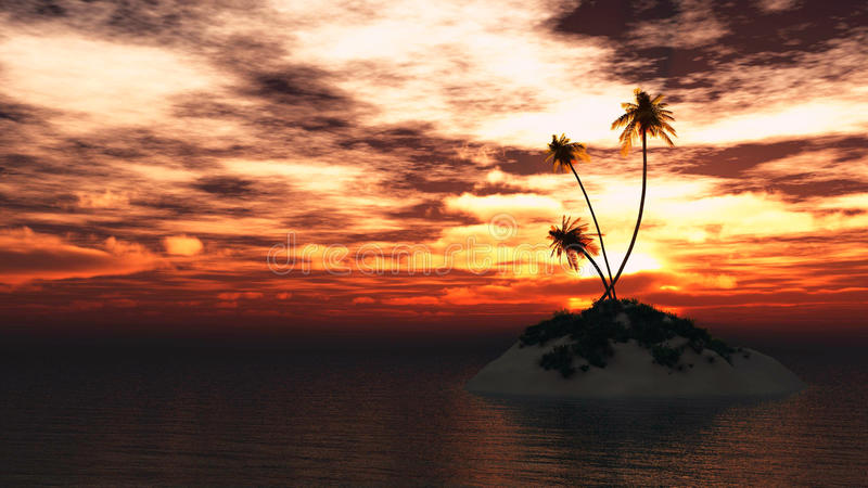 Остров ладоней на море захода солнца иллюстрация вектора