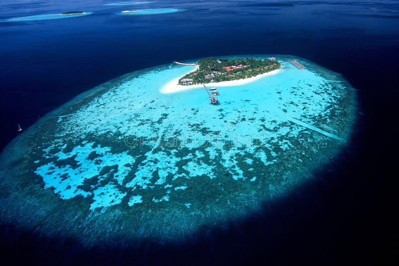Остров взгляда Мальдивов ареального стоковое изображение rf