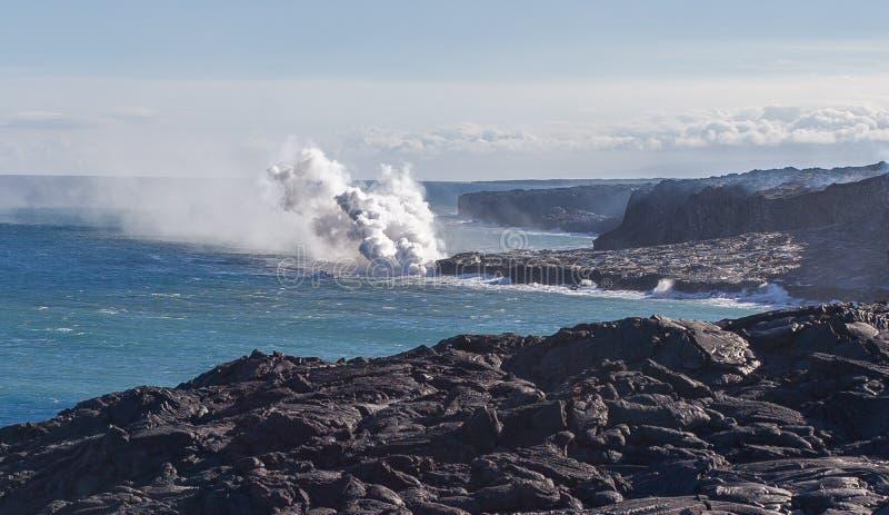 Остров Гаваи красивой и захватывающей лавы вулкана Kilauea большой стоковое фото rf