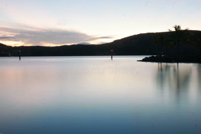 Остров Гамильтона захода солнца стоковое изображение