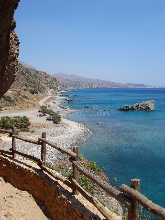 Остров Греция Крита юга Preveli Palm Beach изумляя лето s печатей изящного искусства обоев предпосылки Георгия и ландшафта стоковые фото