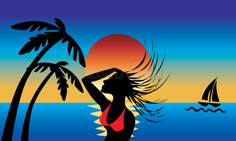 остров девушки иллюстрация вектора