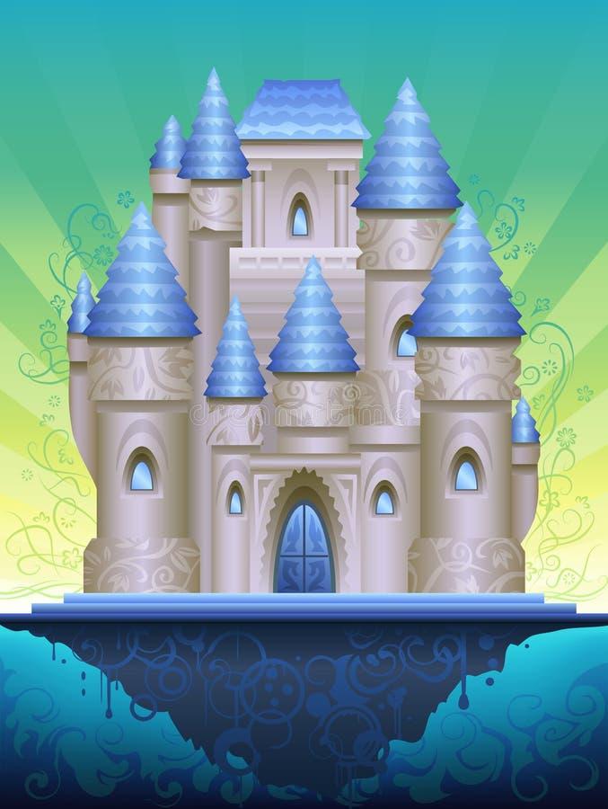 остров замока сказовый иллюстрация вектора