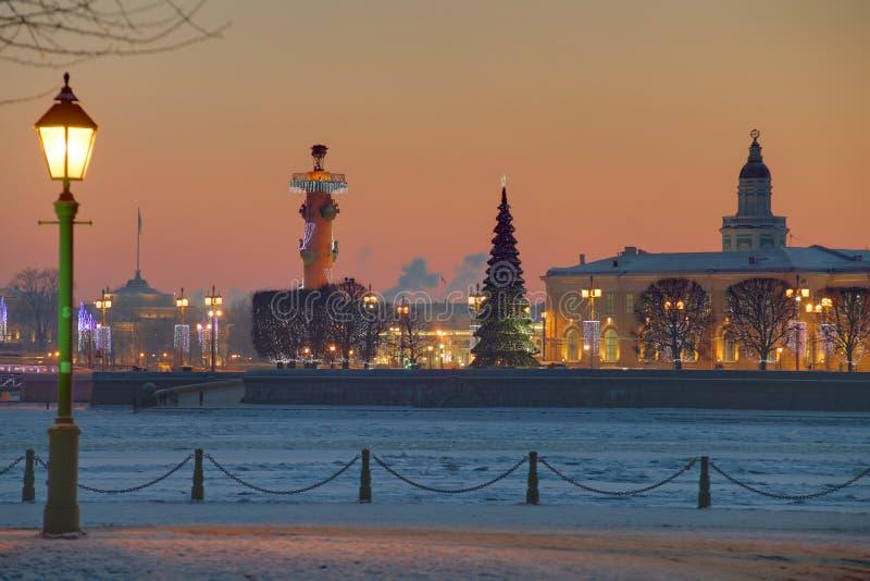 Остров заход солнца Санкт-Петербурга Vasilyevsky, России на зиме, ne стоковая фотография rf
