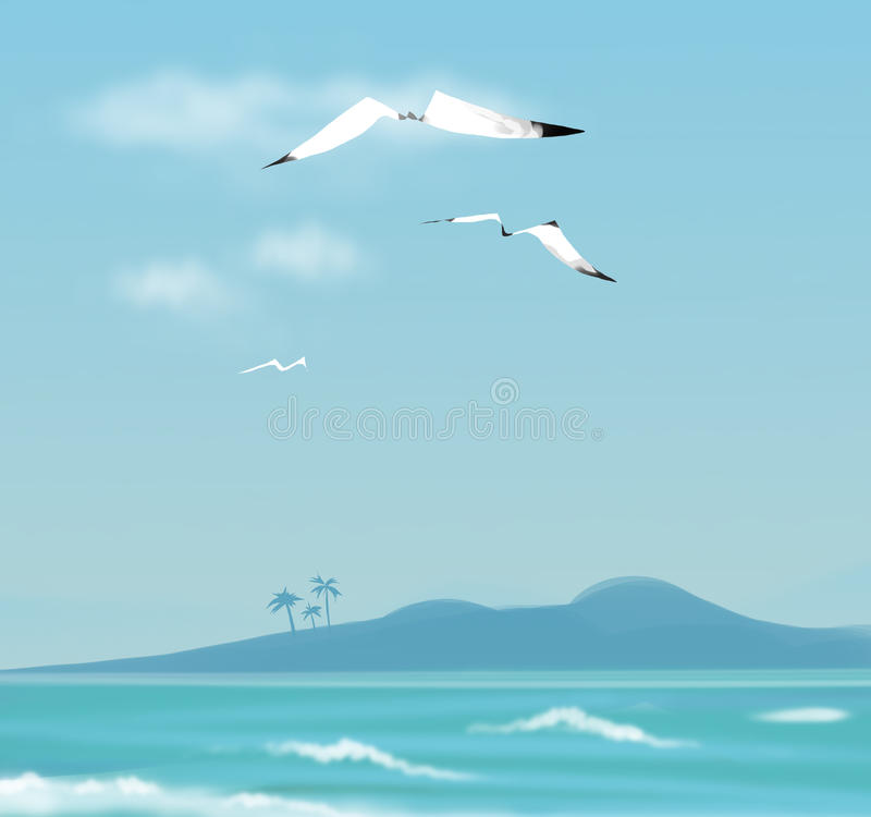 Остров и море и чайки бесплатная иллюстрация