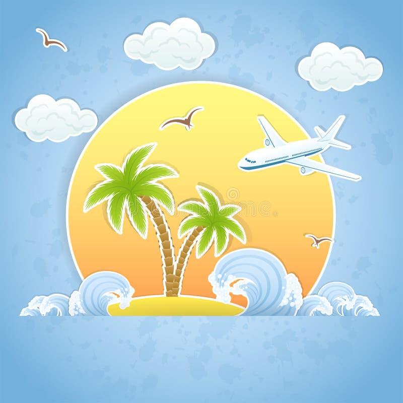 Остров и самолет иллюстрация штока