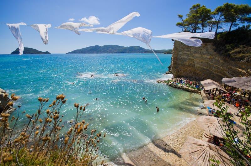 Остров камеи с известным пляжем, Закинфом, Грецией стоковое изображение