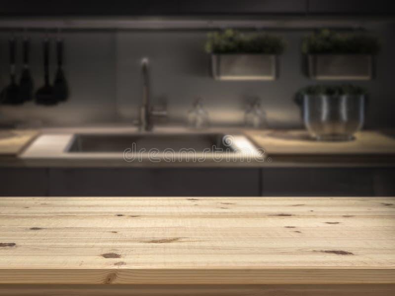 Остров кухни с верхней частью деревянного стола для монтажа дисплея продукта стоковые изображения rf