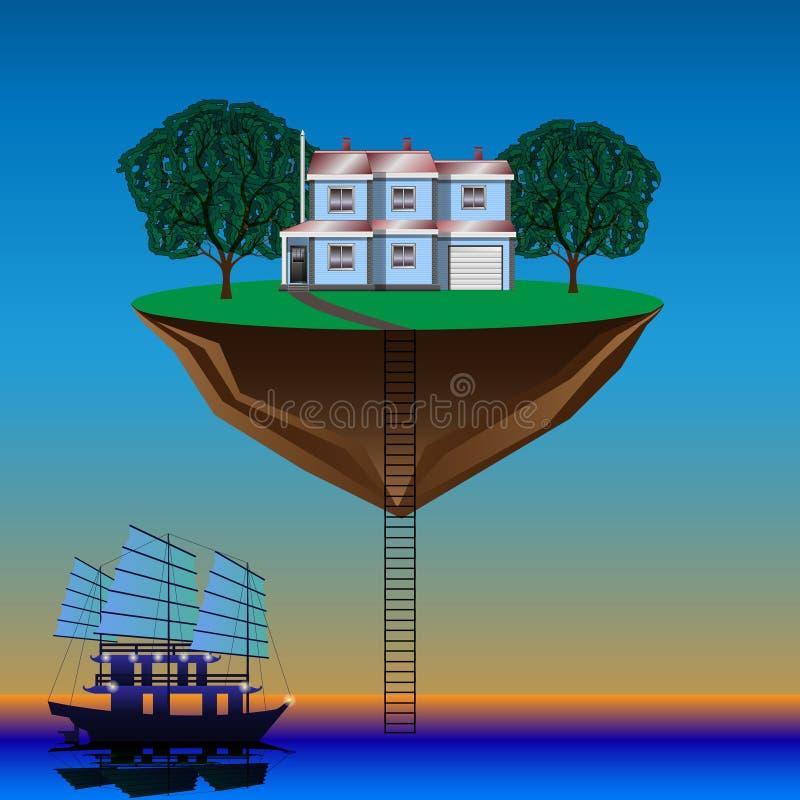 Остров летания над водой бесплатная иллюстрация