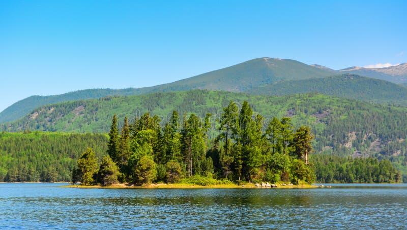 Остров медведя на озере Frolikha стоковые фотографии rf