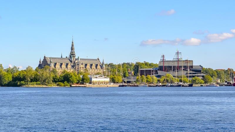 Остров музея Стокгольма Djurgarden с музеями Nordiska, Vasa и Junibacken, Швецией стоковые изображения