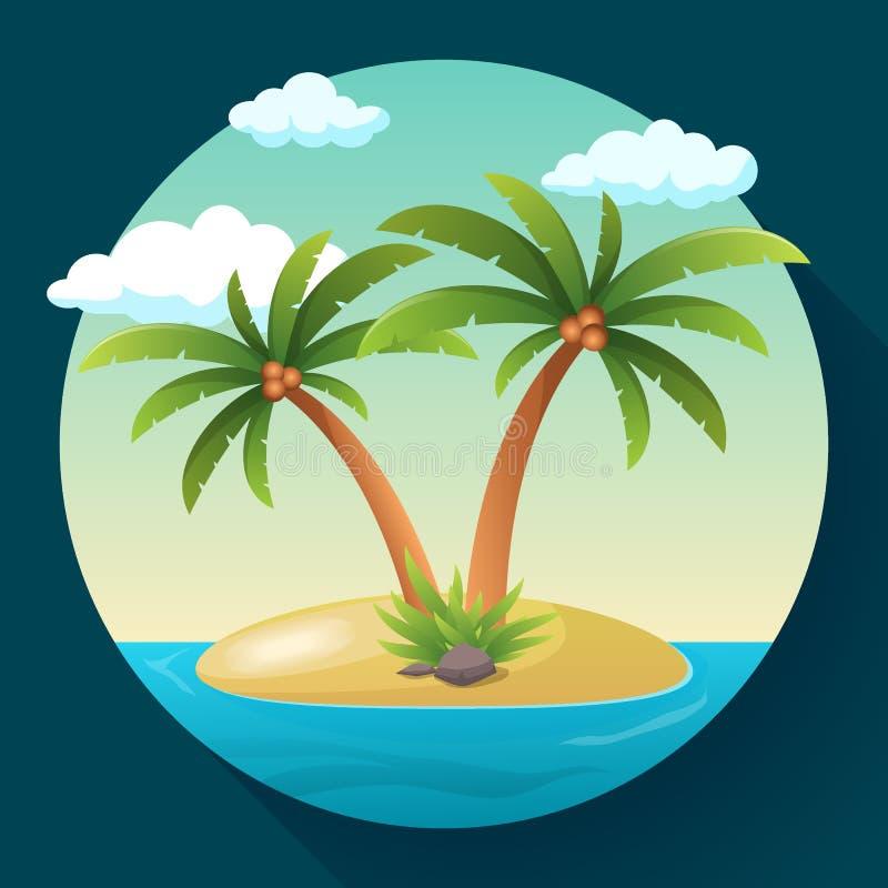 Остров океана праздника летних каникулов тропический с иллюстрацией вектора пальмы плоской иллюстрация штока