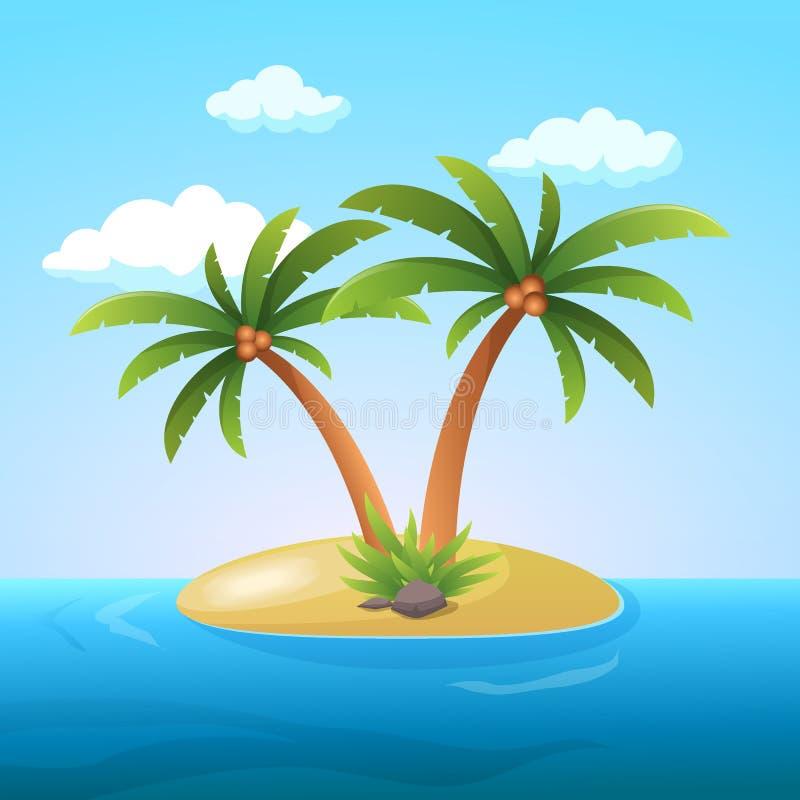 Остров океана праздника летних каникулов тропический с иллюстрацией вектора пальмы плоской бесплатная иллюстрация