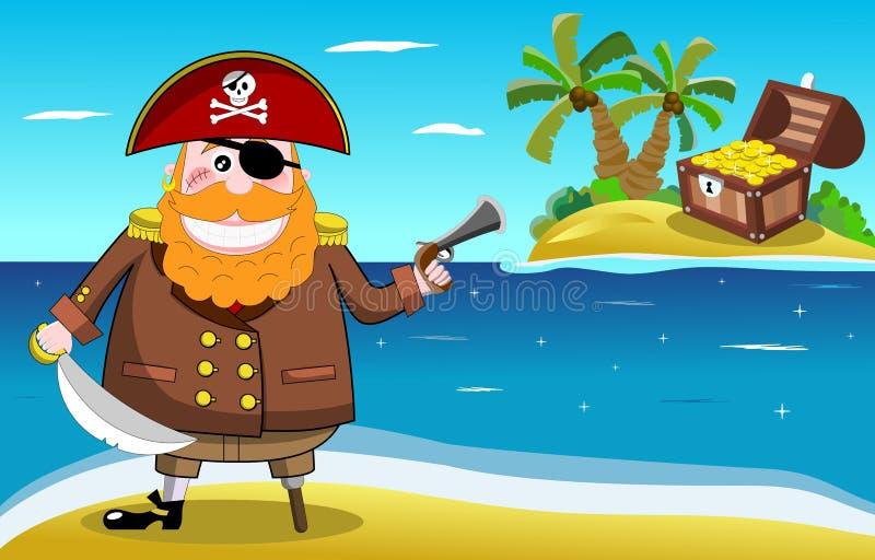 Остров пирата и сокровища иллюстрация вектора