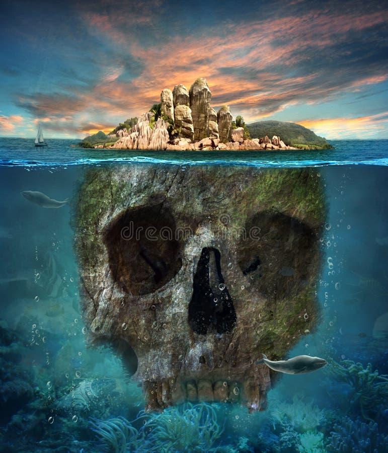 Остров Подводный череп График концепции в мягкой картине маслом бесплатная иллюстрация