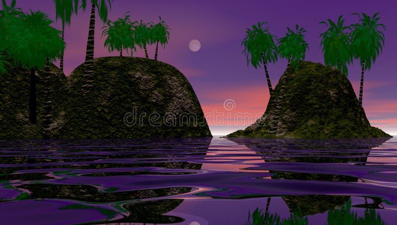 остров рассвета тропический иллюстрация штока