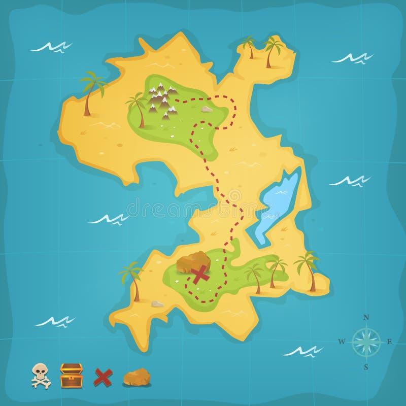 Остров сокровища и карта пирата иллюстрация штока