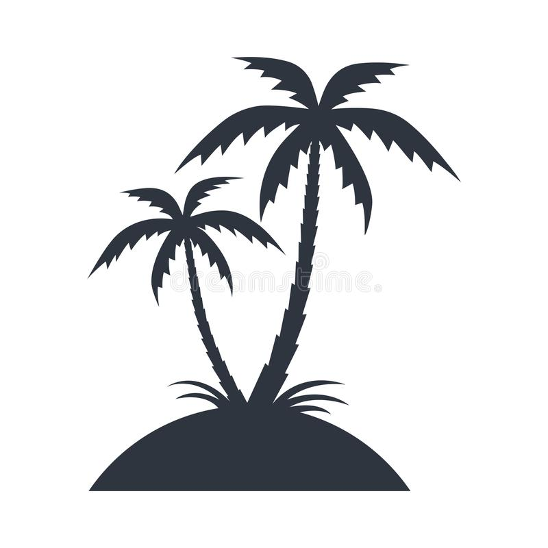 Остров со значком пальм графическим иллюстрация вектора