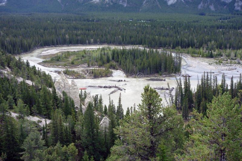 Остров сформировал рекой в Альберте стоковое изображение rf