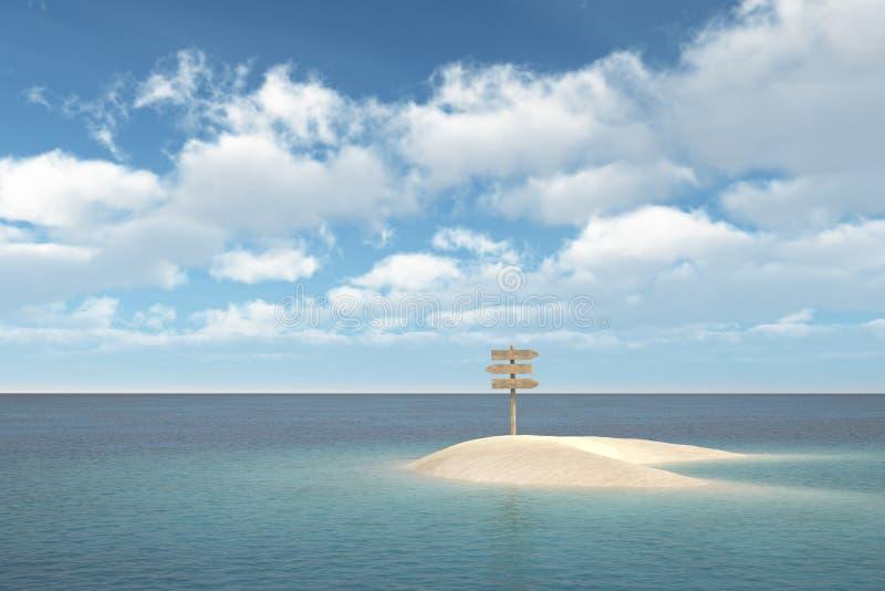 Остров с signboard стоковое изображение rf