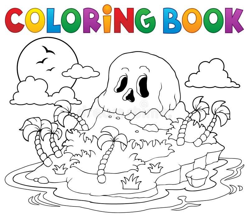 Остров черепа пирата книжка-раскраски иллюстрация штока