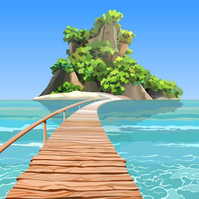 Остров шаржа тропический с пристанью в море бирюзы иллюстрация вектора